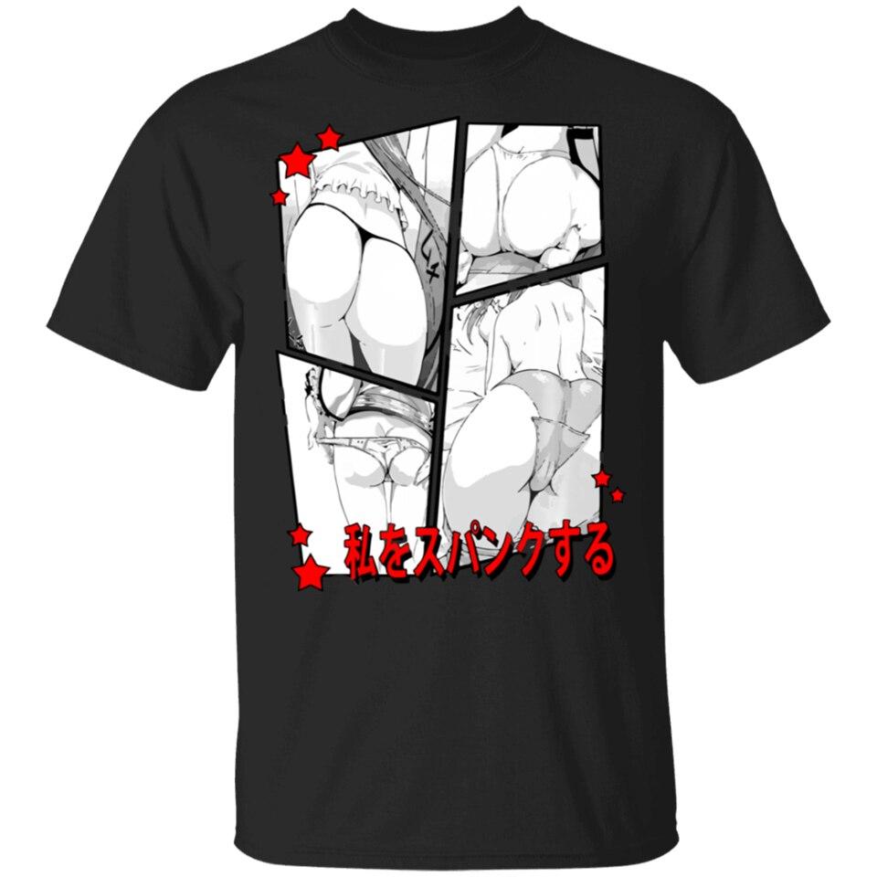 Camiseta spank-me de anime, lewd conduz ahegao hentai, camiseta preta m-xxxl, hip-hop