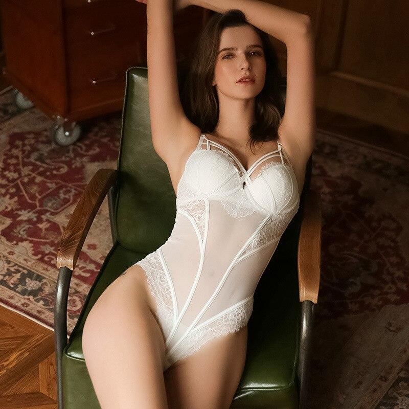 Roseheart Women Fashion Black Green White Push Up Sexy Lace Mesh Cross Straps Bodysuits Skinny Backless Cotton Erotic