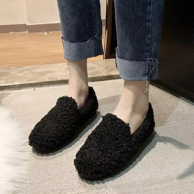 حذاء موكاسين نسائي من الصوف القطني ، حذاء شتوي مسطح عصري ، 2021