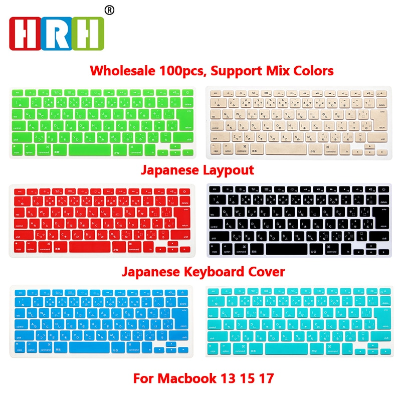 HRH Japanese 100pcs Silicone Keyboard Cover Skin Protector Film for MacBook Pro 13 15 17 Air Retina 13.3 Japan Keyboard
