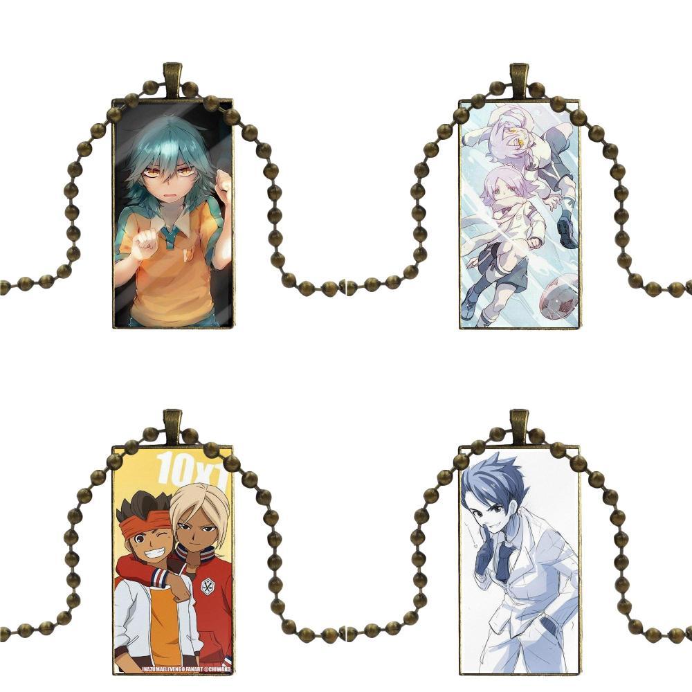 Para hombres mujeres Anime Inazuma Eleven Go colgante de cristal Galaxy colgante collar mujeres bronce plateado collares joyería