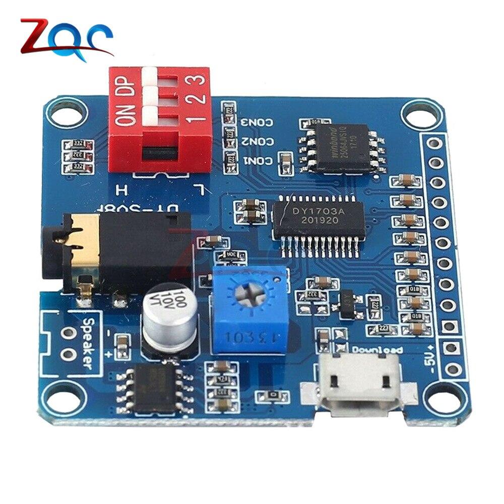 Tarjeta de módulo de reproducción de voz de 5W, reproductor de música MP3, amplificador de disparador IO, Control de protocolo UART, descarga USB, Flash de 64MB