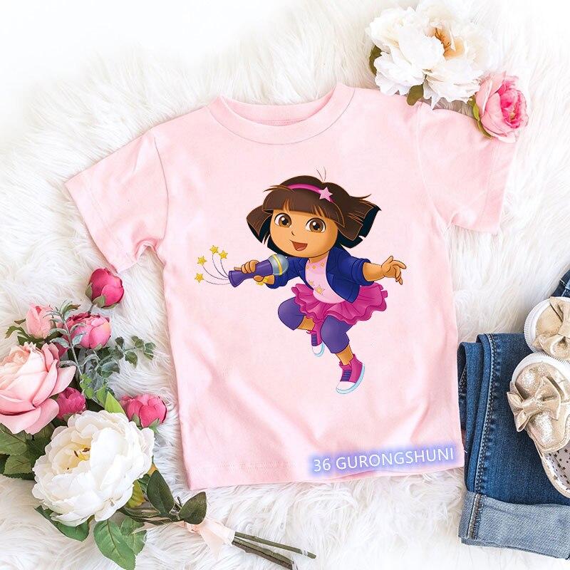 Kawaii girls t-shirt Dora Explorer cartoon print kids tshirt summer aesthetic girls t shirt pink short-sleeved tops wholesale