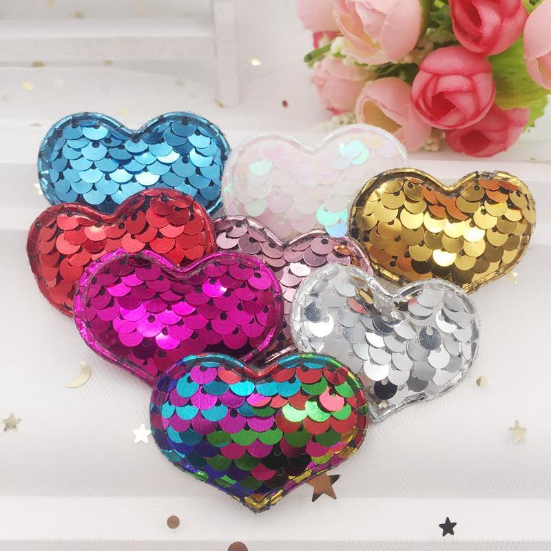 Colorido brillo lentejuelas pescado escala acolchada tela corazón apliques boda los niños pelo Clip accesorios suministros para manualidades DIY