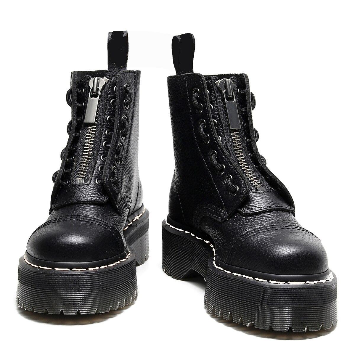 حذاء نسائي ذو نعل سميك شتوي موضة 2021 مزود بسحّاب من الجلد حذاء نسائي بمقدمة دائرية حذاء بوت قتال
