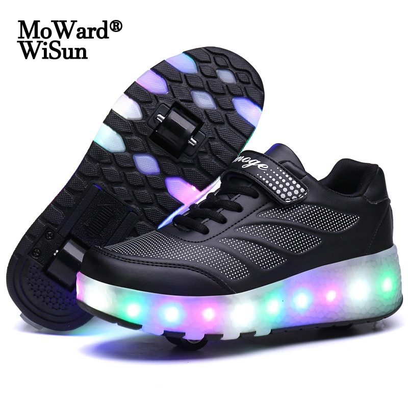 Size 28-43 Led Wheel Sneakers for Kids Adult USB Charging Glowing Roller Shoes with Lights Double Wh