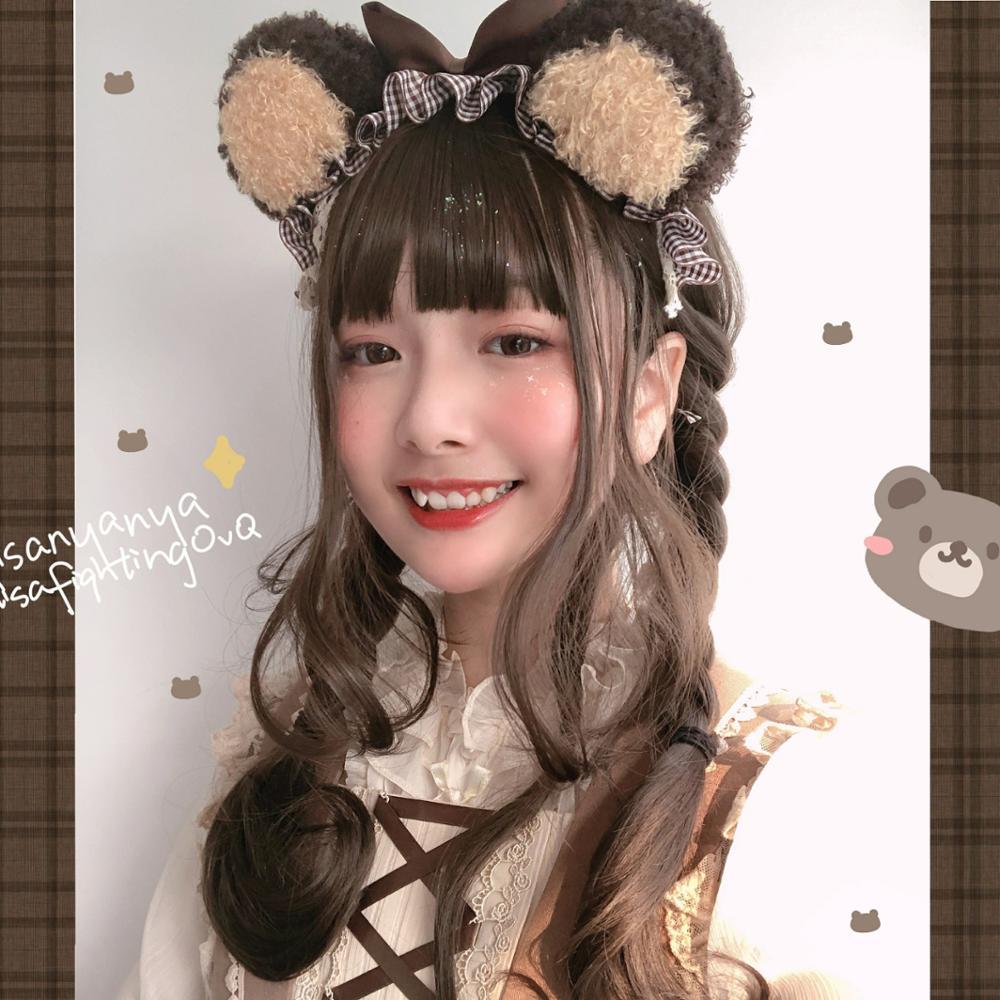 2 cores artesanal lolita pelúcia urso de pelúcia orelhas cabelo argola enfeites de cabelo bonito kc selvagem lolita cabelo banda kawaii acessórios para o cabelo