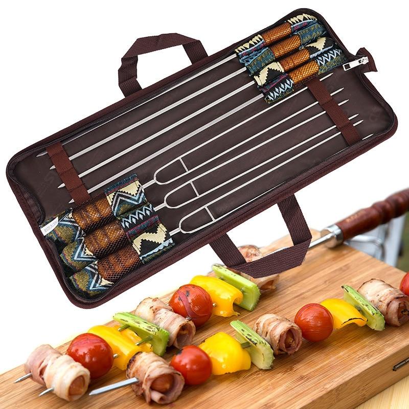 7 قطعة شواء الفولاذ المقاوم للصدأ تحميص الشوك مع حقيبة التخييم أجنحة دجاج ساخنة الكلب أسياخ الخشب شواء الشواء أداة dls كباب
