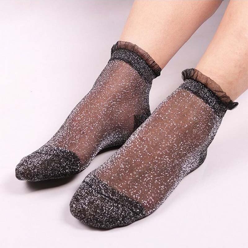 Женские носки, модные Прозрачные шелковые кружевные забавные Женские носочки, сетчатые блестящие короткие носки, прозрачные эластичные за...