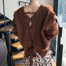 Korean Cardigan Women Sweater Chic Personalized V-neck Single Breasted Careful Back Strap Cross Loos