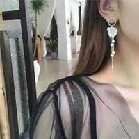 2020 trendy women geometric circle dangle earrings shell flower pearl tassle earrings fashion jewelry for women statement