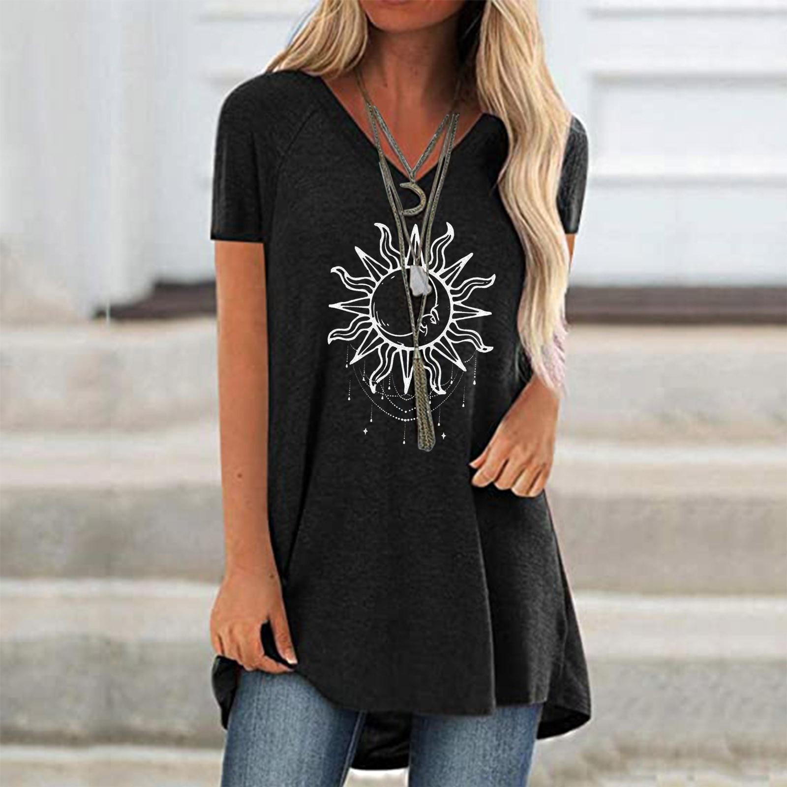 Camiseta blanca con estampado 3D de Luna y sol para Mujer, ropa...