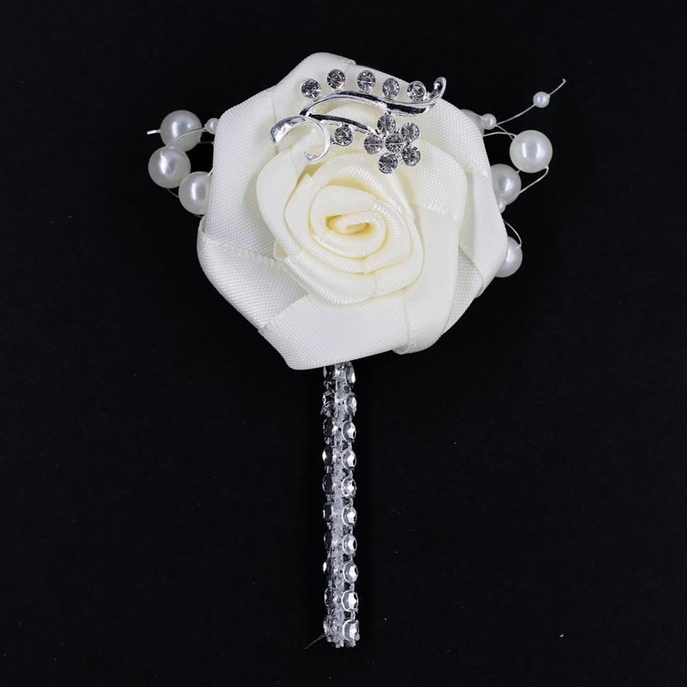 Marfim flores artificiais noivo boutonnieres melhor homem flor boutonniere casamento corsage broche prata baile de formatura boutonniere X559-17