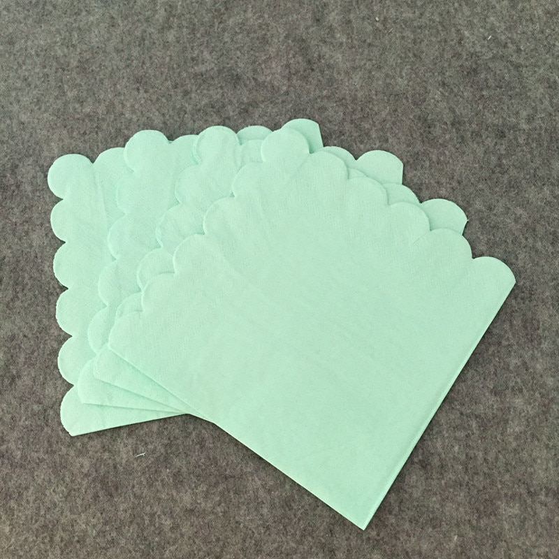 100pcs/lot Large Solid Color Blue & Mint Paper Napkins Grand Event Party Favor 33X33cm Serviettes for Birthday Baptism Carnival