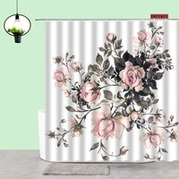 pink rose shower curtain plant flowers printing bathroom curtains home toilet aesthetic decor bathtub screen bathroom products
