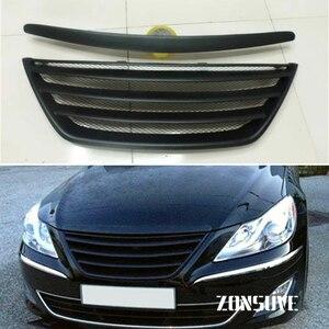Use For Hyundai Genesis Sedan 2009--2014 Carbon Fibre Refitt Front Center Racing Grille Cover Accessorie Body Kit Zonsuve