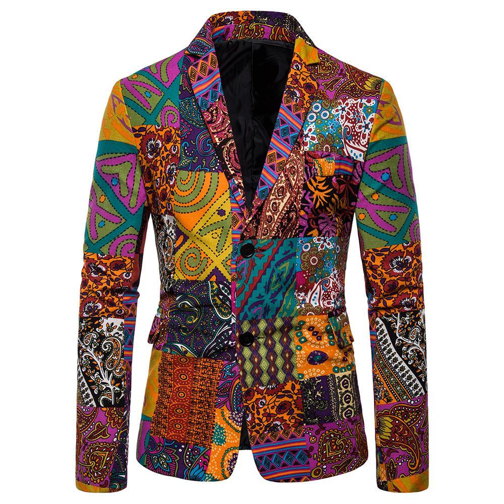 Floral printed designs Men's Blazer Jacket Cotton and linen Casual Slim fit Tuxedos Blazers Men Suits New
