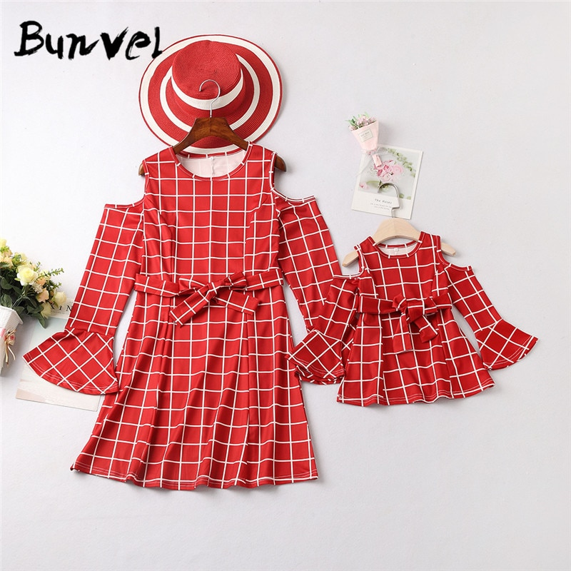 Bunvel invierno Niño vestido de niña mamá y yo ropa roja Plaid impreso madre hija vestidos princesa niña ropa F