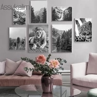 black and white wall art posters lion leopard canvas art print forest landscape painting nordic wall pictures home decoration