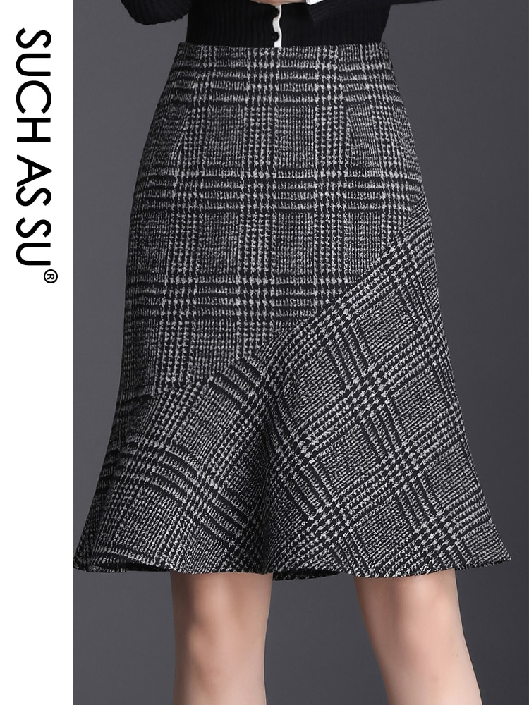 SUCH AS SU New Wool Plaid Skirt Womens 2020 Autumn Winter High Waist Mermaid skirt S-3XL Occupation Work Office Sexy Lady