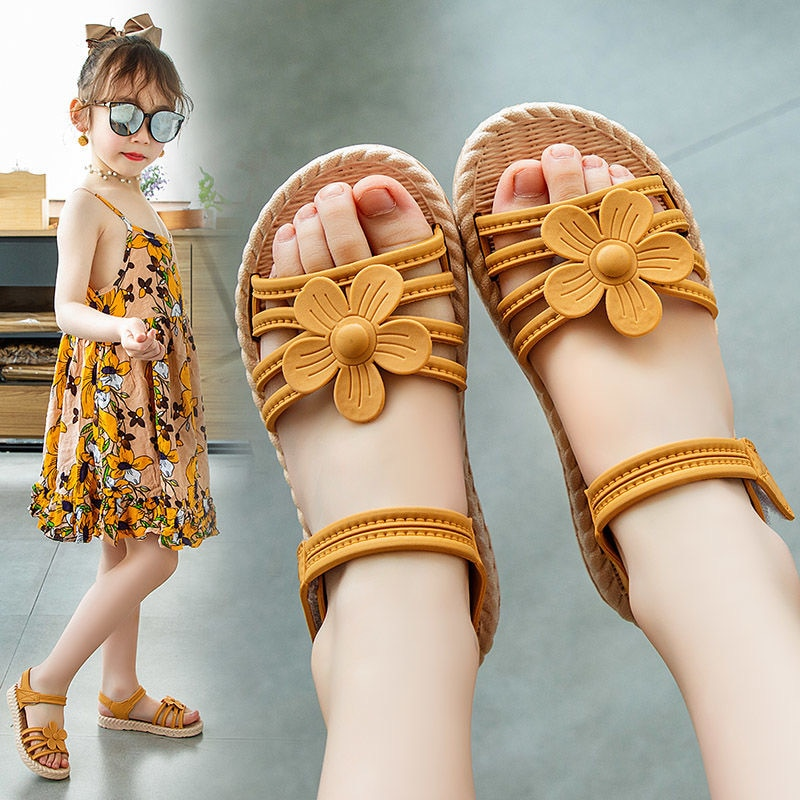 Girls Sandals 2020 Summer New Children's Fashion Soft Bottom Princess Shoes Little Girl Baby Shoes W