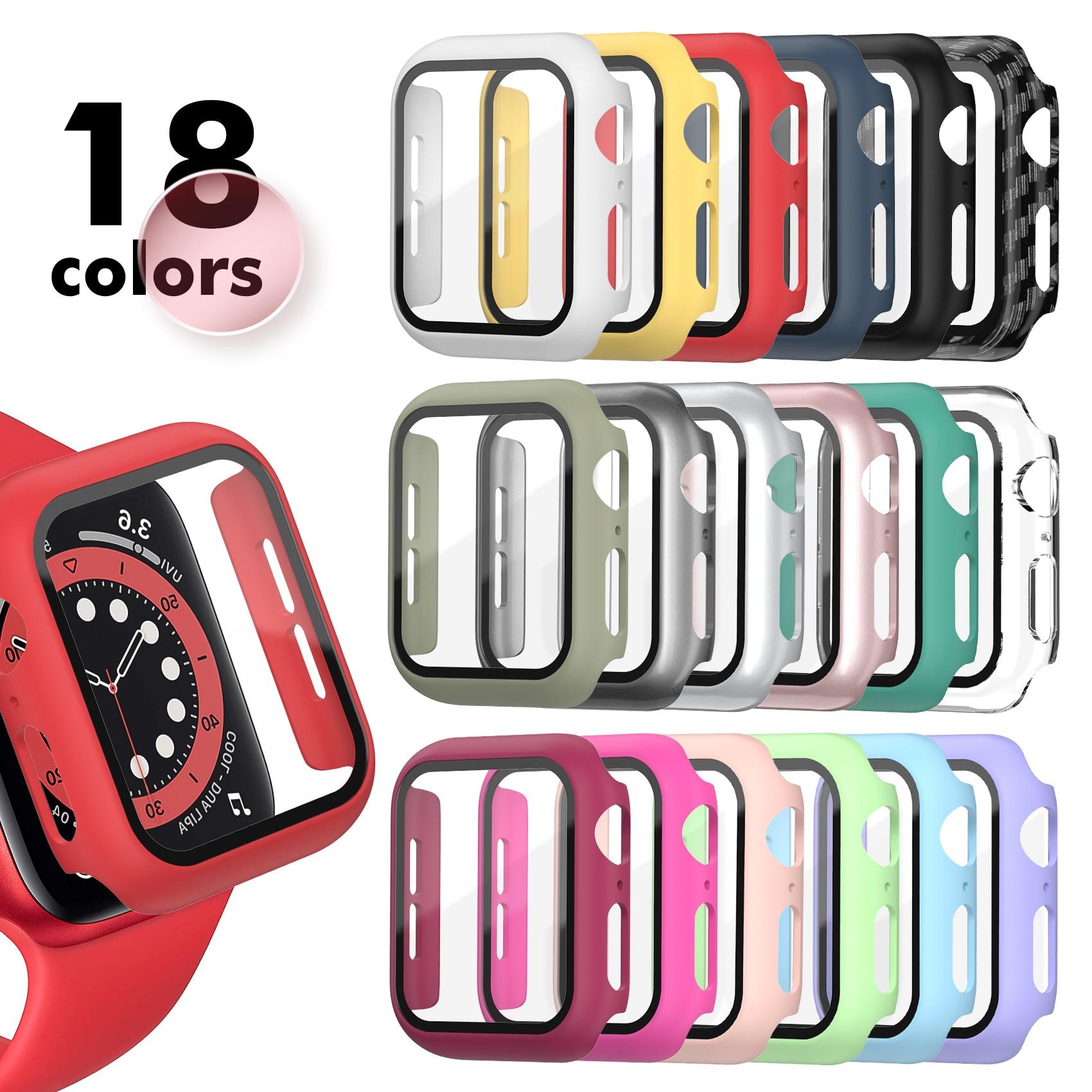 강화 유리 + 매트 시계 커버 애플 시계 케이스 44mm 40mm 42mm 38mm 범퍼 + 화면 보호기 Iwatch SE 6 5 4 3 2 1