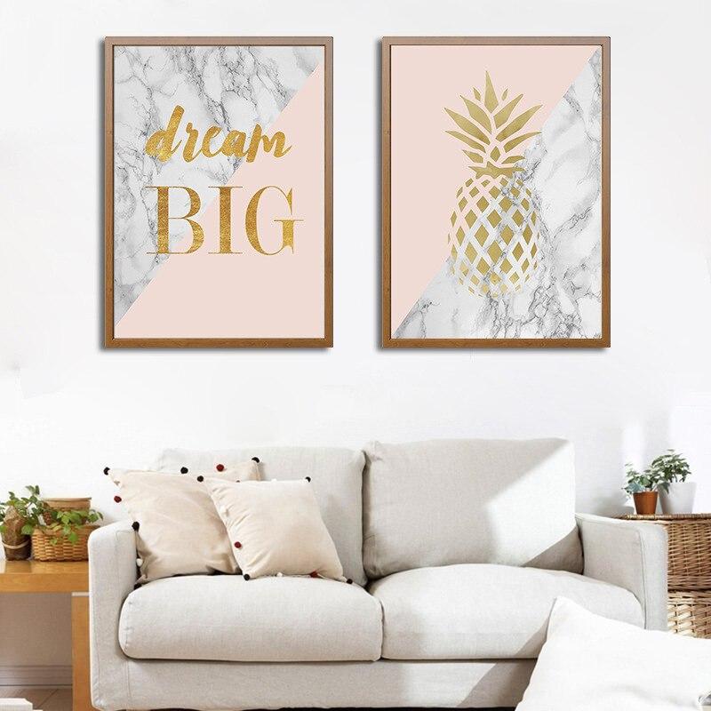 Peinture sur toile pour décoration de noël, affiches avec ananas marbré, tableau dart mural pour salon, décoration de maison