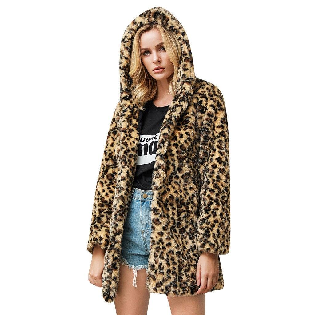 Abrigo de piel sintética de leopardo 2020 para mujer, prendas de vestir...