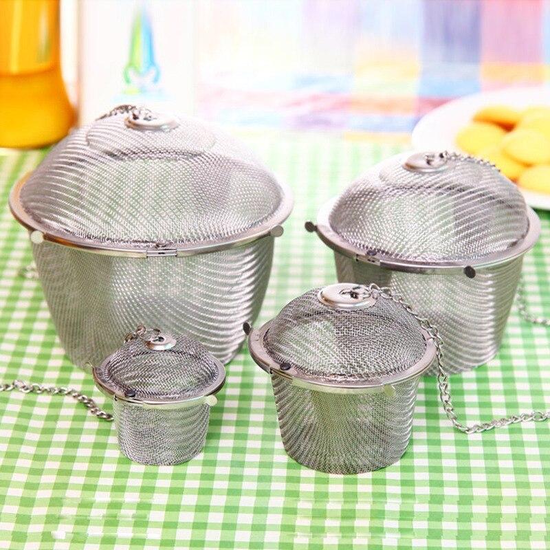 3 размера емкость для приправ для заварки чая сетчатый ситечко для чайного шара с прикованной крышкой из нержавеющей стали фильтр для чая и кофе кухонные инструменты