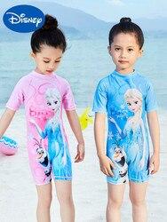 Genuíno disney congelado crianças maiô meninas grandes crianças maiô de uma peça bebê menina princesa boxer protetor solar maiô