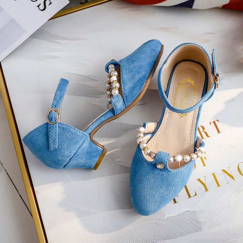 Children Princess Shoes Kids Girls Wedding Shoes High Heels Dress Shoes Bowtie Gold Shoes For Girls party shoe kids gift enlarge