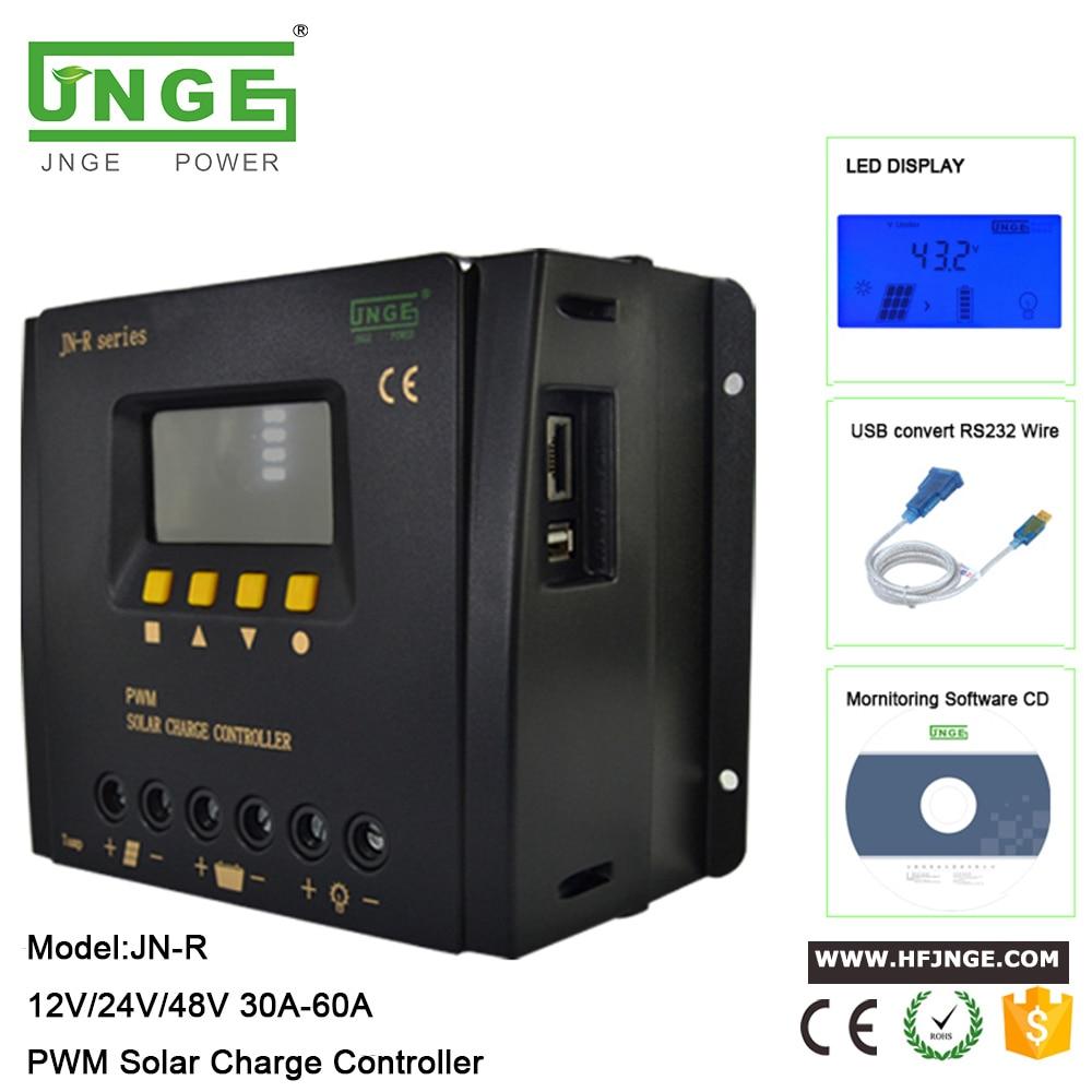 JNGE 60A 50A 40A 30A PWM شحن منفذ USB PV إدخال البطارية اتصال الطاقة الشمسية جهاز التحكم في الشحن