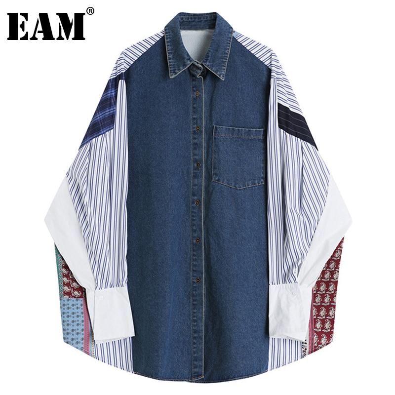 [EAM] Women Pattern Print Big Size Denim Blouse New Lapel Long Sleeve Loose Shirt Fashion Tide Spring Autumn 2021 1DD5287