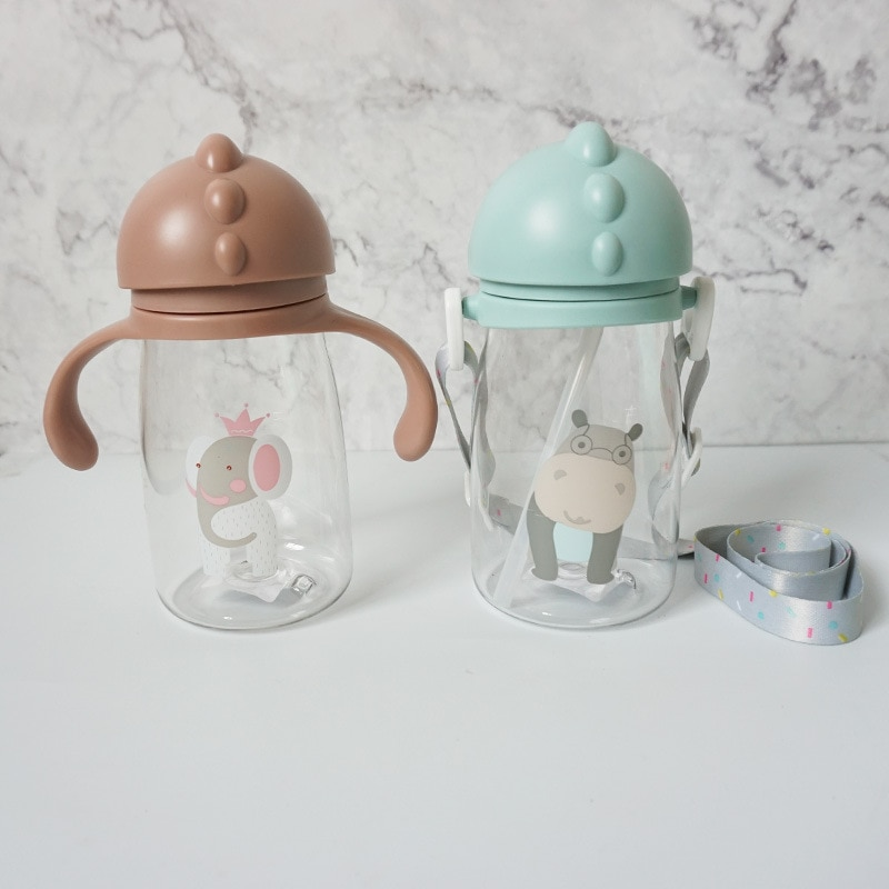 420ML PC Feeding Kids Toddler Newborn Baby Drink Cups Water Bottles Kids Drinking Sippy A Cup with Straw Infantil Drinker
