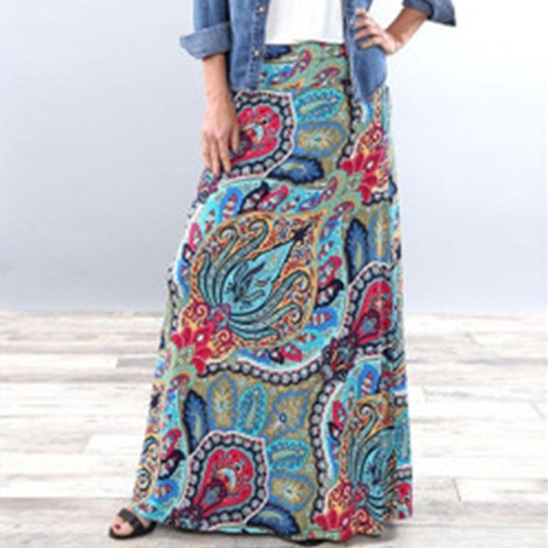 юбка летняя юбка с высокой талией юбка длинная Женская длинная юбка-карандаш, Повседневная Длинная юбка-карандаш в этническом стиле с принт... pink memories длинная юбка