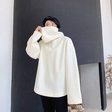 Hommes détachable col roulé laine pull veste sweat homme Streetwear Hip Hop gothique hiver ample épais décontracté manteau à capuche