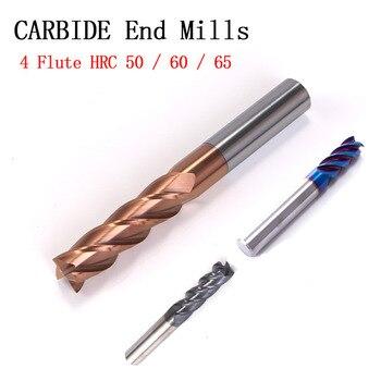 1 pcs set Cutting HRC50 HRC60 HRC65 4 Flute 4mm 5mm 6mm 8mm 12mm Alloy Carbide Milling Tungsten Steel Milling Cutter End Milling