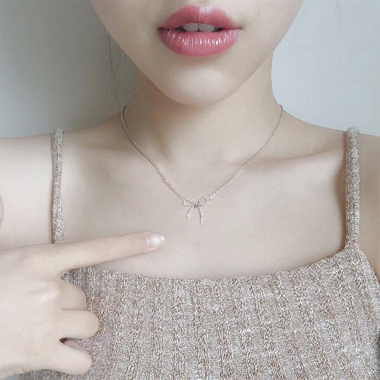 Cشو27 Bownot مجوهرات قلادة الإناث النحاس سلسلة قصيرة تصل إلى عظمة الترقوة رابط هدية للمشتري