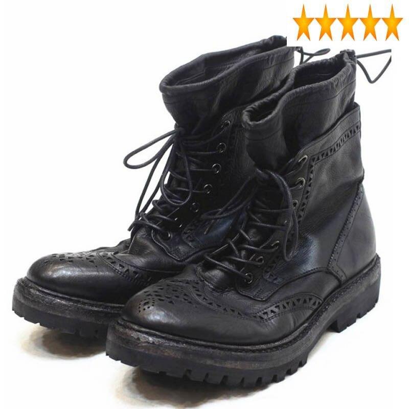 بروغ-حذاء جلد طبيعي عتيق مع أربطة للرجال ، أحذية عمل ، أحذية عمل ، جلد طبيعي ، دراجة نارية ، فاخرة ، ذات علامة تجارية ، طراز عتيق