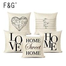 Fundas de cojín con letras Love Home, funda de cojín Blanca Negra de lino, funda de cojín decorativa de estilo nórdico 45x45cm