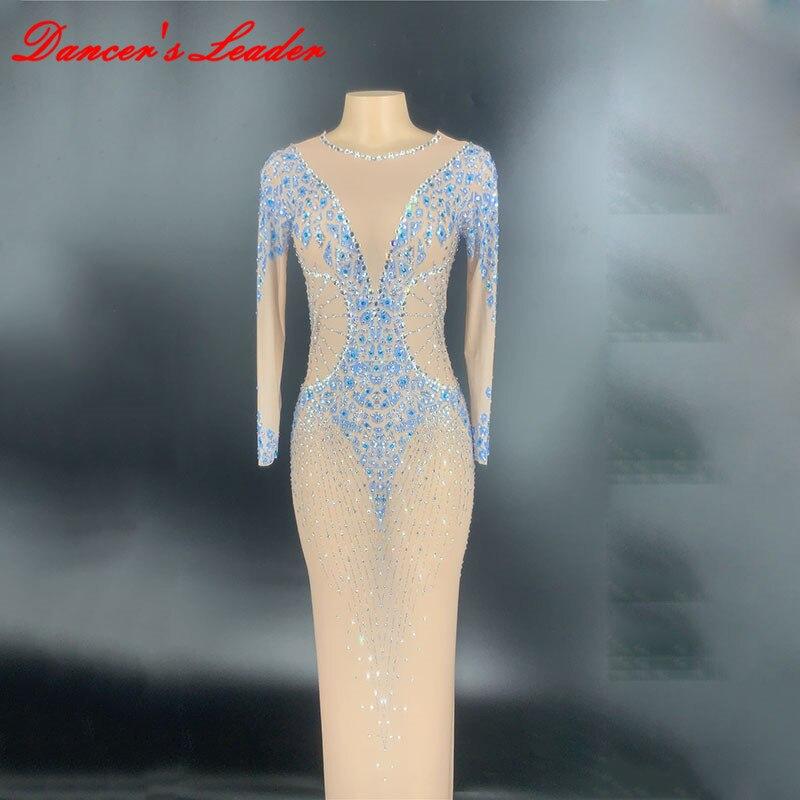 Dj كان رقيقة صافي الغزل حجر الراين شفافة تنورة طويلة حقيبة الورك فستان مرحلة الأداء الملابس الإناث المغني الأداء فستان