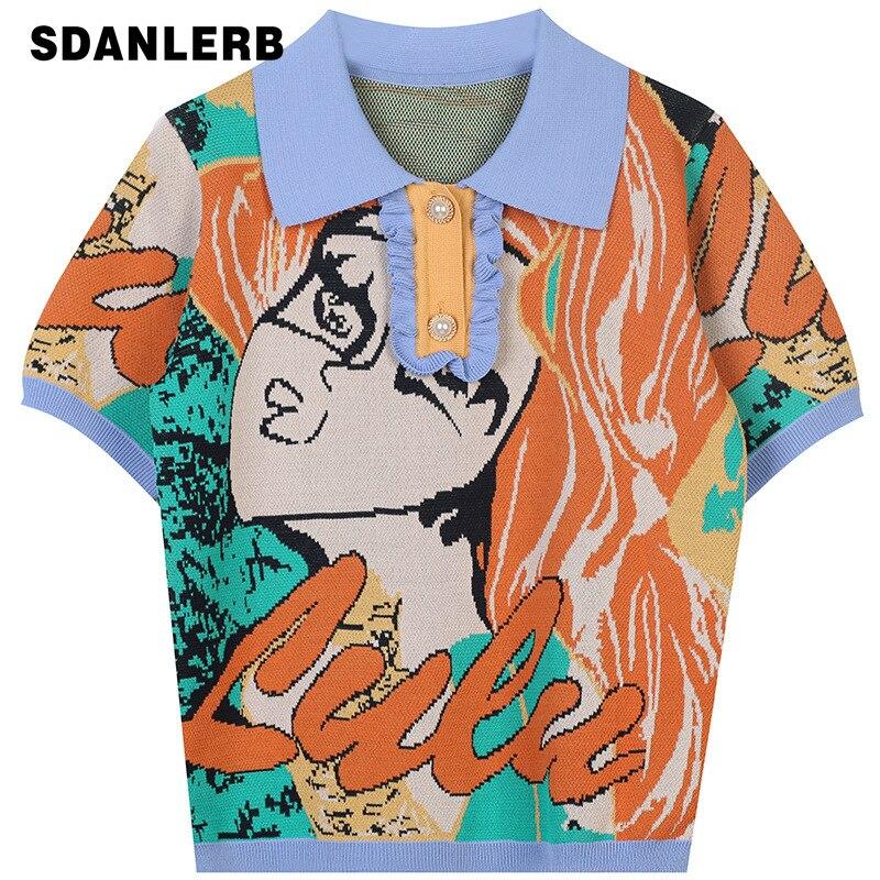 2021 الصيف المرأة الجديدة تي شيرت رولنج قصيرة الأكمام قميص التباين اللون إلكتروني طباعة فضفاضة رقيقة محبوك أفضل النساء الملابس