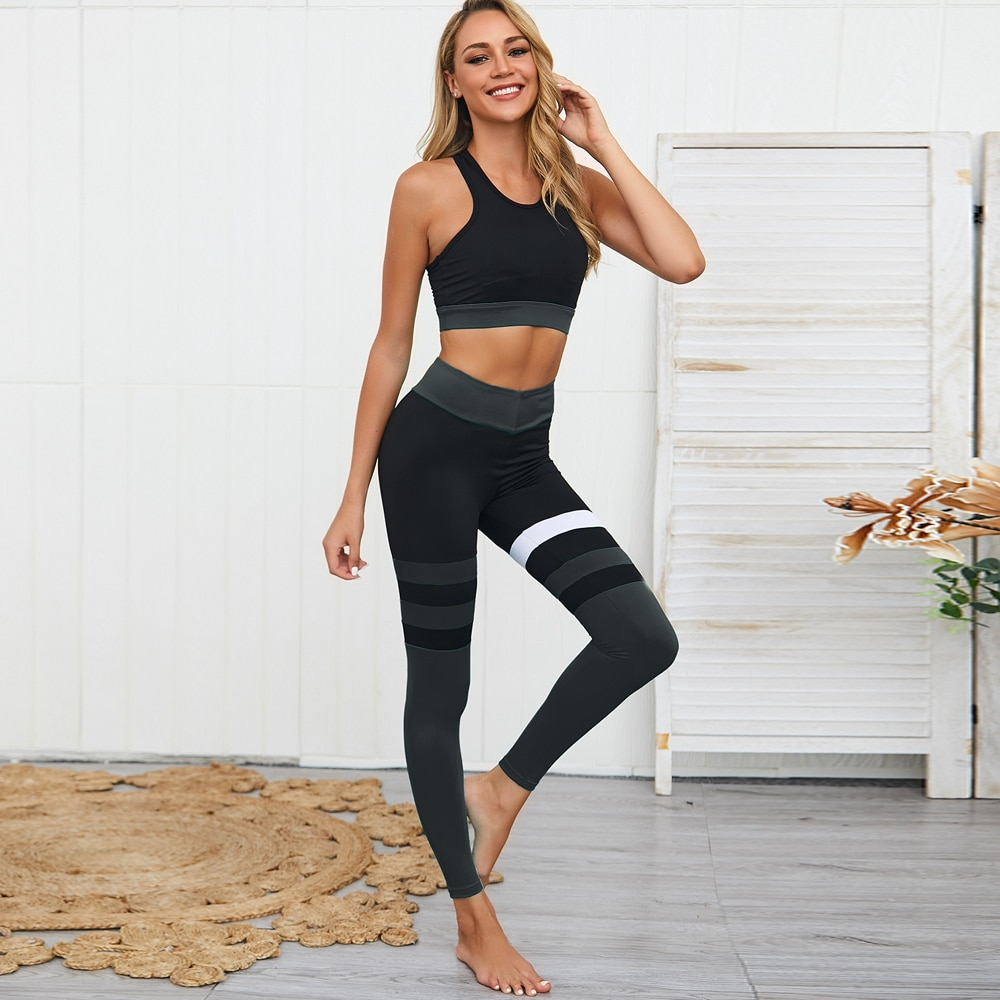 Women Yoga Dress Suit Sets High Waist Tight Push Up Running Vest And Pants Two-Piece Suit For Fitnes