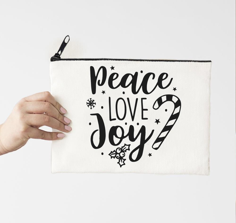 Косметички Peace Love Joy, холщовые рождественские подарки, косметичка, Аниме пенал на молнии, Модный женский дорожный размер