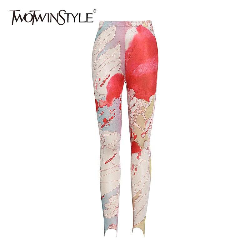 Женские брюки-карандаш в стиле пэчворк twotwin2, уличная одежда с высокой талией, облегающие брюки для лета 2020