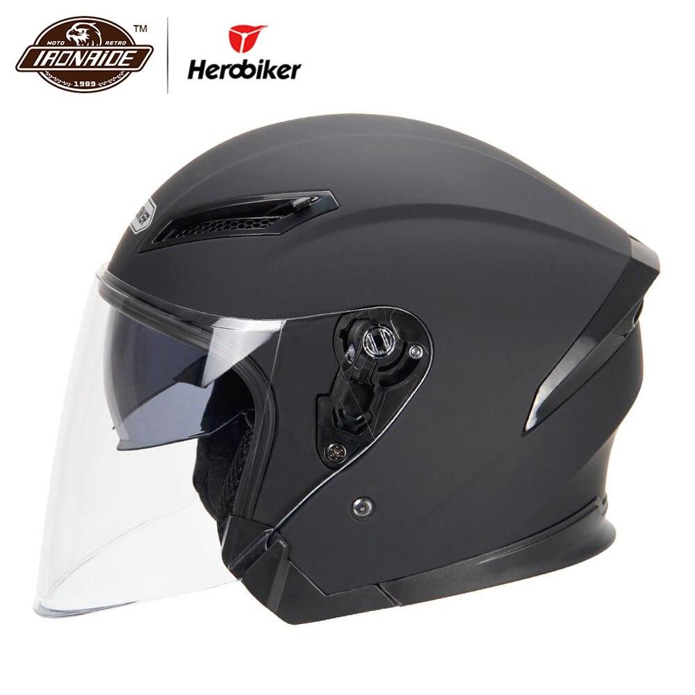 HEROBIKER, Casco de motocicleta, Casco de motocicleta Para Motocross Casco de motocicleta Para Moto 3/4, Cascos Para Moto
