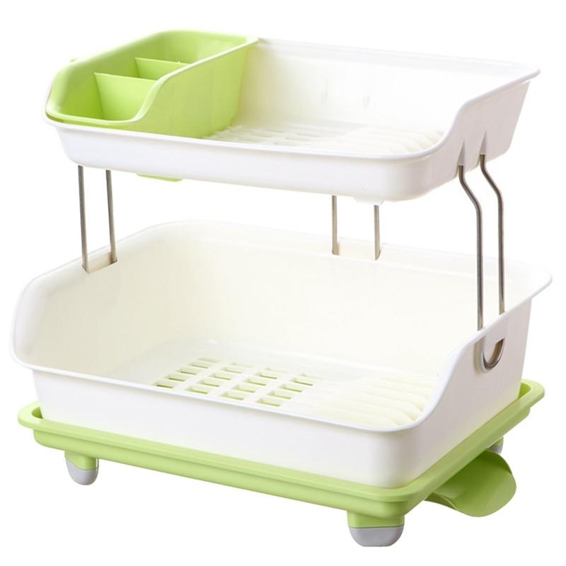 خزانة مطبخ بلاستيكية ذات طابقين ، صندوق تخزين لعيدان الطعام ، رف تصريف متعدد الطبقات ، أرفف أطباق