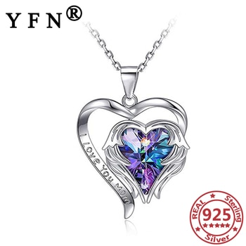 YFN 925 Sterling Silver Heart Necklace Cubic Zircon Personalize Letter Pendant Necklace Silver Mom's Gifts Valentine's Day Gifts