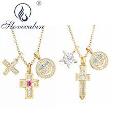Slovecabin 100% réel 925 argent Sterling célèbre japonais bijoux Zircon femmes hommes croix Smiley visage étoile pendentif collier