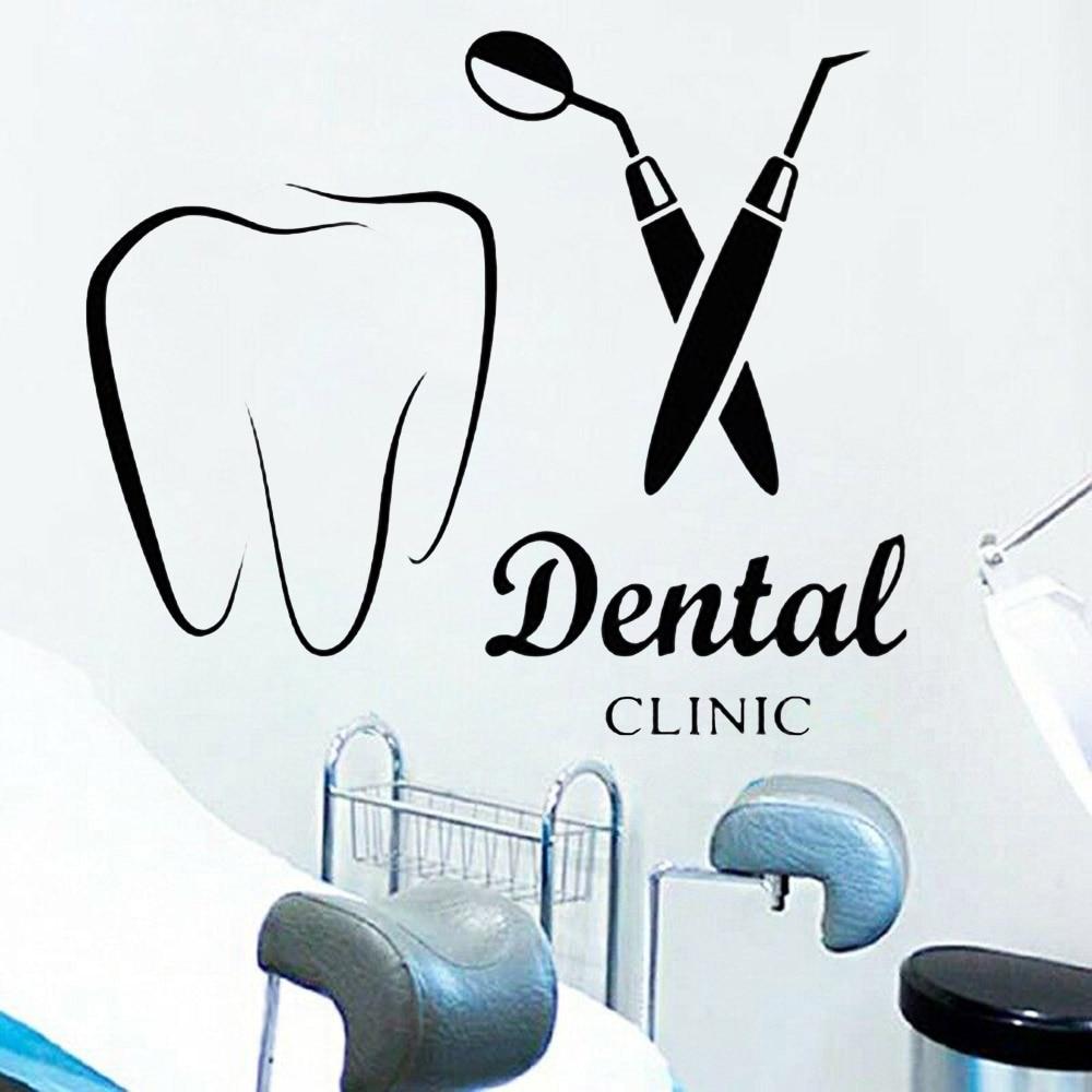 Cartoon Wand Aufkleber Zahnarzt Lächeln Dental Wand Aufkleber Zähne Klinik Home Dekoration Abnehmbare Zahn Vinyl Bad Wand Decor Y613